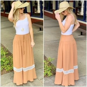 Camel Lace Inset Maxi Skirt